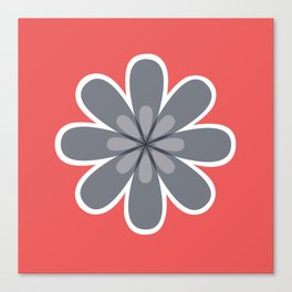 Symmetrical floral pattern, grey and coral red geometric flower Canvas Print