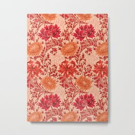 William Morris Chrysanthemums, Coral Orange Metal Print