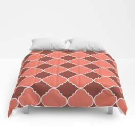 Living Coral and Mauve Moroccan Tile Ornamental Pattern with White Border Comforters