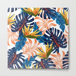 Trendy seamless tropical pattern with bright plants and leaves on a light background. Summer colorful hawaiian seamless pattern with tropical plants. Beautiful print with hand drawn exotic plants. Metal Print