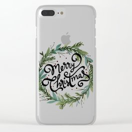 Merry Christmas Wreath Clear iPhone Case