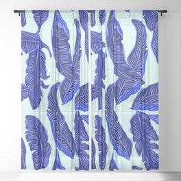 Banana leaves tropical leaves blue white #homedecor Sheer Curtain