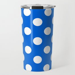Flickr Blue - blue - White Polka Dots - Pois Pattern Travel Mug