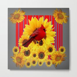 YELLOW SUNFLOWERS RED CARDINAL GREY  ART Metal Print