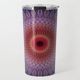 Blue, lilac and orange mandala Travel Mug