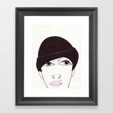 girl in a hat Framed Art Print
