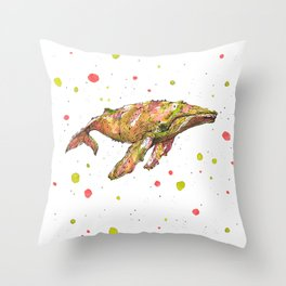 Tangerine Whale Throw Pillow