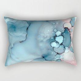 Becoming Abstract Painting Pink Blue Rectangular Pillow