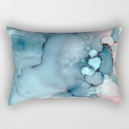 Becoming Abstract Painting Pink Blue Rectangular Pillow