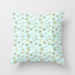 Blue Mint Gold Sea Shells Throw Pillow