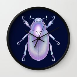 Pearly Holographic Beetle Wall Clock
