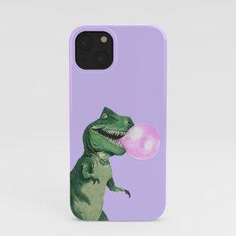 Bubble gum T-Rex in Purple iPhone Case