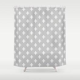 Fleur-de-Lis (White & Gray Pattern) Shower Curtain
