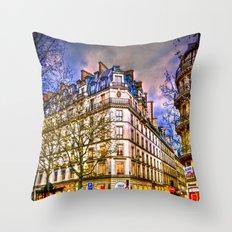 Rainy evening in Paris, France Throw Pillow