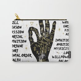 Palmistry, chiromancy. Black hand on a white textured background. Carry-All Pouch