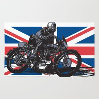 cafe racer Area & Throw Rugs featuring Norton TT Racer by Ernie Young
