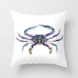 Kaleidoscope Crab Watercolor Painting Throw Pillow