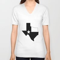 texas V-neck T-shirts featuring TEXAS by Fool design