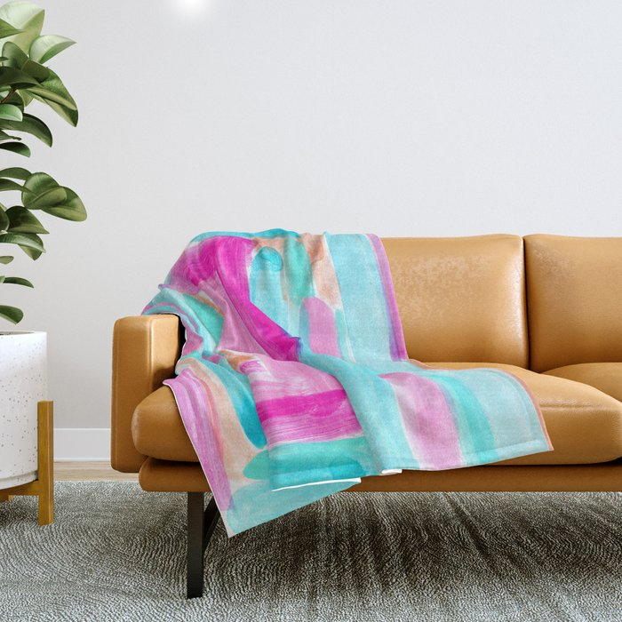 It's Your Life pastel color stripes modern art abstract painting lines pattern minimalist Throw Blanket