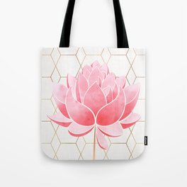 Lotus Blossom - Blush Pink and Metallic Gold Tote Bag