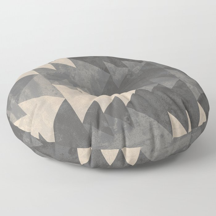Geometric triangles abstract pattern - Gray tones & Beige Floor Pillow
