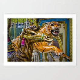 Carousel Camel and Tiger on a Merry-go-round Art Print