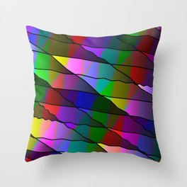 Mirrored colored shards of curved red intersecting ribbons and dark lines. Throw Pillow