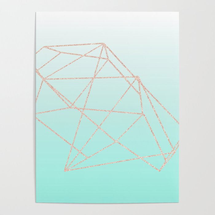 Mint Green Ombre With Rose Gold Pattern Poster By Matte Marble Society6