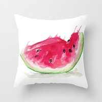 watermelon Throw Pillows featuring Watermelon by Bridget Davidson