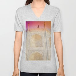 Morning Light at Taj Mahal Unisex V-Neck