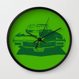 MONOCHROMATIC GREEN BUICK RIVIERA Wall Clock