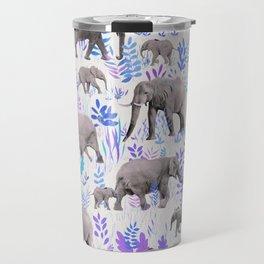 Sweet Elephants in Aqua, Purple, Cream and Grey Travel Mug