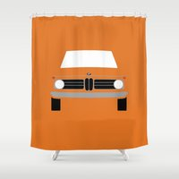 bmw Shower Curtains featuring BMW 2002 by Nick Steen