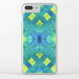 Green and blue geometric abstract motif, hand painted elements Clear iPhone Case