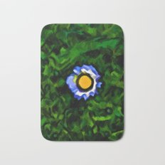 Little Blue and White Daisy in the Green Grass Bath Mat