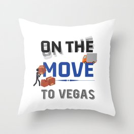 On the Move to Vegas Moving State & House Gift Throw Pillow