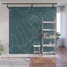 Monstera No2 Teal Wall Mural