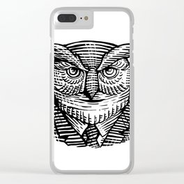 Hipster Owl Suit Woodcut Clear iPhone Case