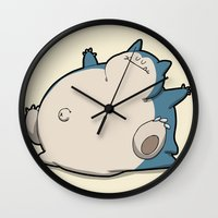 snorlax Wall Clocks featuring Pokémon - Number 143 by Aniforce