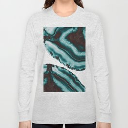 Turquoise Brown Agate #1 #gem #decor #art #society6 Long Sleeve T-shirt