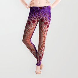 Mandala in plum and pastel peach tones Leggings