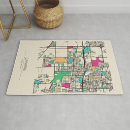 Colorful City Maps: Lansing, Illinois Rug