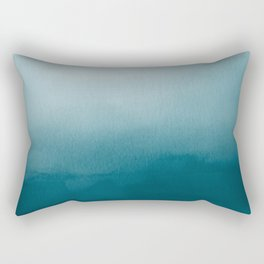 Tropical Dark Teal Inspired by Sherwin Williams 2020 Trending Color Oceanside SW6496 Watercolor Ombre Gradient Blend Abstract Art Rectangular Pillow