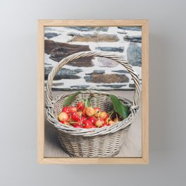Cherries in a Basket on a Wooden Table Framed Mini Art Print