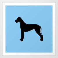 great dane Art Prints featuring Great Dane by Erin Rea