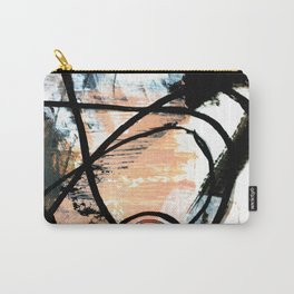 It comes and goes - a black and white abstract mixed media piece with pink details Carry-All Pouch