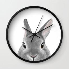 Netherland Dwarf rabbit Grey, illustration original painting print Wall Clock