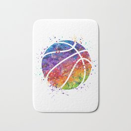 Basketball Ball Colorful Watercolor Sports Art Bath Mat