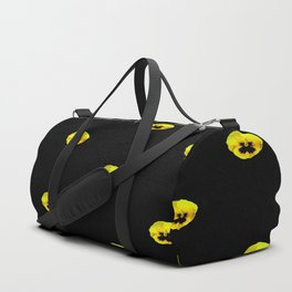 YELLOW  PANSY FLOWERS SPRINKLED ON MIDNIGHT BLACK Duffle Bag