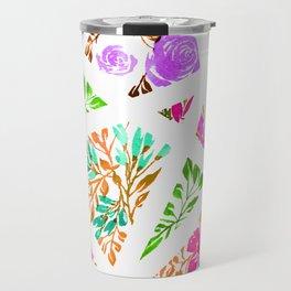 Pink and Purple Floral Mosaic Travel Mug
